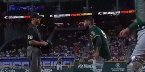 A's pitcher Sergio Romo outdoes Max Scherzer by angrily dropping his pants over search