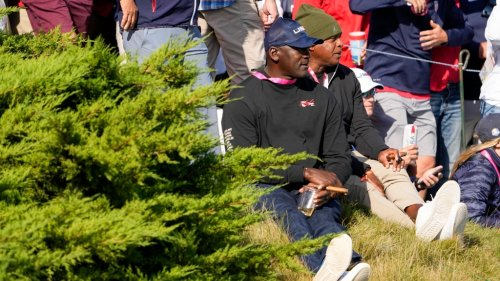 Michael Jordan is at the Ryder Cup and he's fired up after a Dustin Johnson birdie putt
