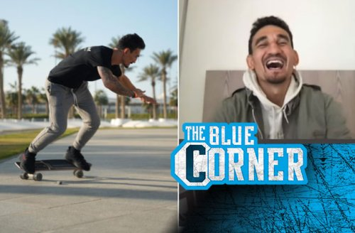 Max Holloway laughs about skateboarding past Conor McGregor's interview