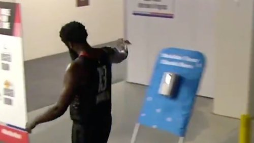 James Harden took his frustration out on a hand-sanitizer dispenser after Game 4 loss