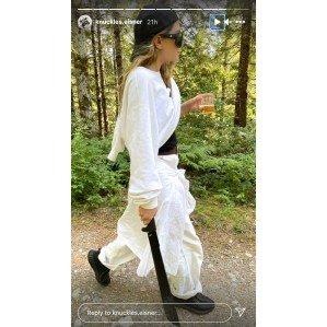 Ashley Olsen, Boyfriend Louis Eisner Go Hiking With a Drink and a Machete