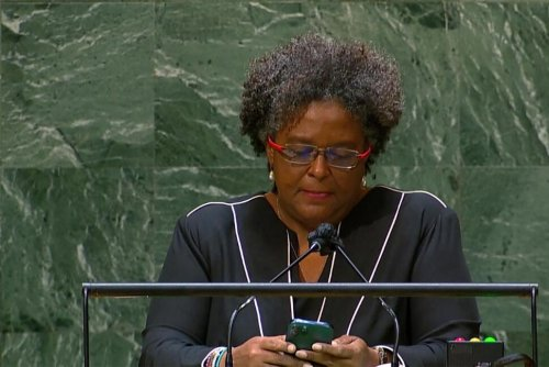 GLIMPSES: Phone in Hand, Barbados PM Dials Into Issues at UN