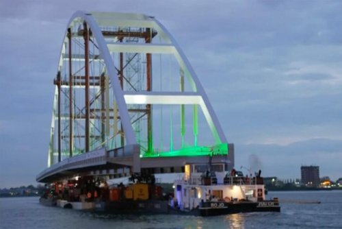 Untroubled Waters: Bridge Transported Along Rotterdam River
