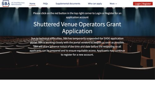 SBA to Reopen Shuttered Venue Website on Saturday