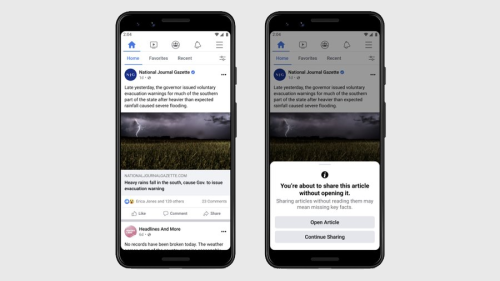 Facebook, Looking to Curb Misinformation, Is Starting to Prompt Users to Read Articles Before Sharing