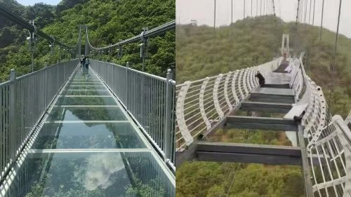 Man Trapped on Bridge After Glass Deck Blown Off By Strong Wind