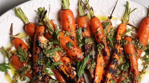 Grilled Carrots with Sunflower Seeds and Carrot Tops Recipe