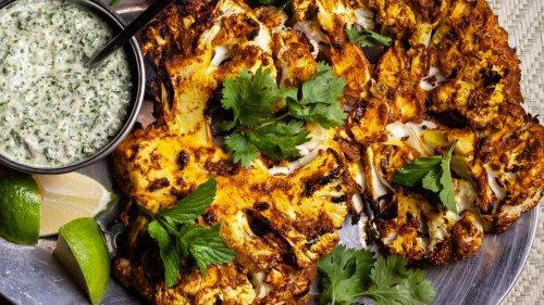Grilled Cauliflower Steaks with Yogurt-Herb Sauce Recipe