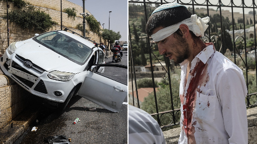 Car Swerves Into Palestinians On Day of Chaos in Jerusalem