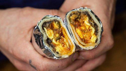 Egg, Tomato, and Black Bean Breakfast Burrito Recipe