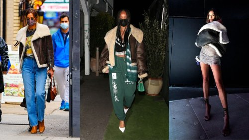 Shearling Coats Are Spring's Breakout Celebrity Trend