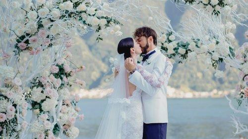 Giorgia Gabriele Wore a Custom Off-White Wedding Dress With a 26-Foot Train to Her Ceremony on Lake Como
