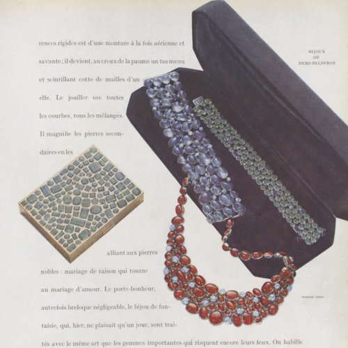 Ce collier vintage en rubis publié dans Vogue Paris en 1947 va être vendu aux enchères