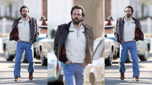 Ben Affleck cambia look con una giacca in pelle vintage anni '70