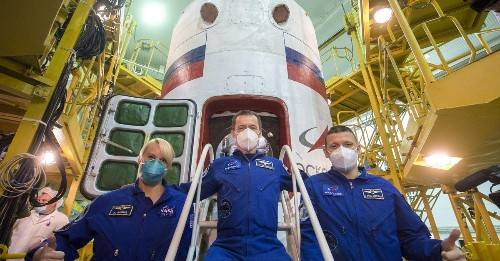 NASA astronaut launches on Russian rocket as US transitions to private spacecraft