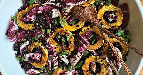 Delicata squash, radicchio and black rice salad is full of flavor and easy to make