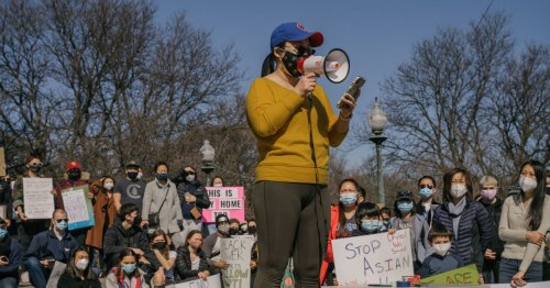Hundreds gather at Logan Square monument for 'Stop Asian Hate' rally