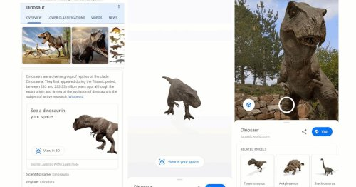 Google now lets you see dinosaurs in the real world through augmented reality