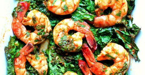 Chermoula sauce takes center stage in easy shrimp-and-kale bake