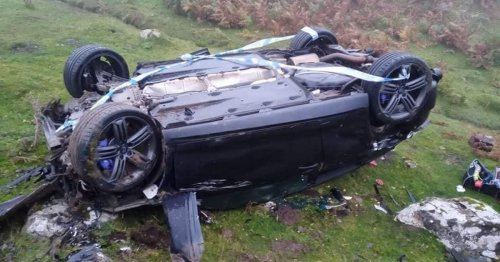 Man's brush with death after car flew off Welsh mountain and plunged 50m