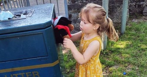 Mum photos little girl binning favourite toy after it's smashed by yobs