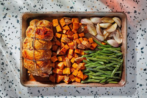 Make it a one-pan Thanksgiving with stuffed turkey breast, sweet potatoes and green beans
