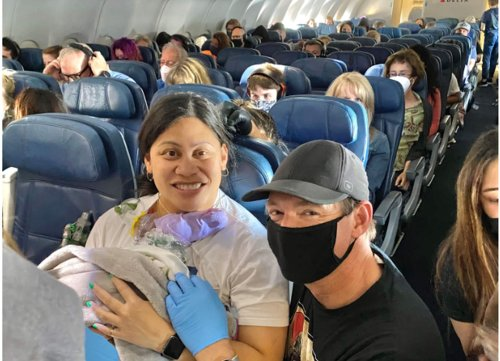 Woman who didn't know she was pregnant delivered a preterm baby midflight. NICU nurses happened to be onboard.