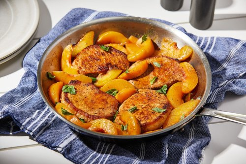 Pork chops and peaches meld savory with sweet in this speedy skillet dinner