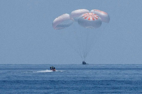 NASA astronauts aboard SpaceX's Crew Dragon capsule splash down in the Gulf of Mexico