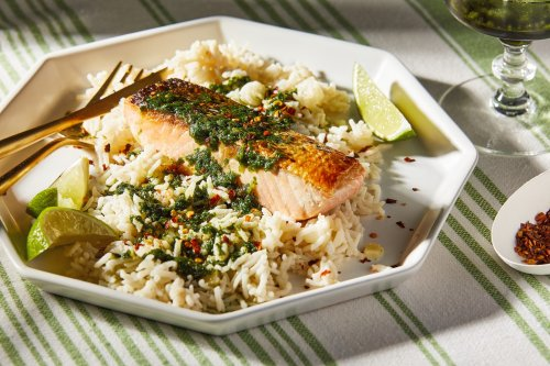 Coconut Rice With Salmon and Cilantro Sauce - The Washington Post