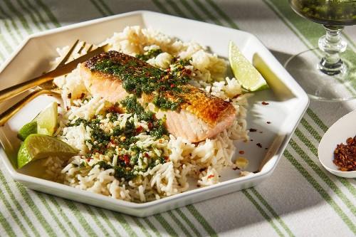 Coconut Rice With Salmon and Cilantro Sauce - The Washington Post