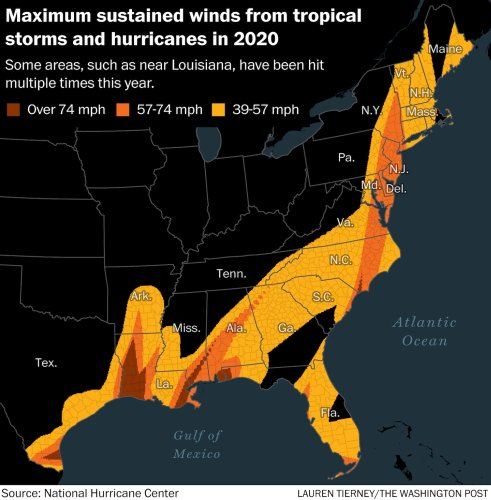 From Texas to Maine, all but six coastal counties have seen tropical storm winds in 2020