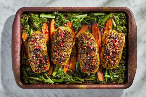This vegetarian Thanksgiving is a one-pan feast: Stuffed squash with broccolini and carrots