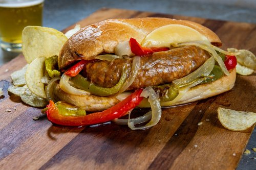 A sheet-pan shortcut for Chicago-style Italian sausage sandwiches with peppers and onions