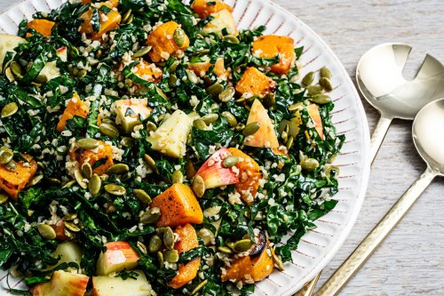 Charred butternut squash and a lemony garlic dressing remind us how good a kale salad can be