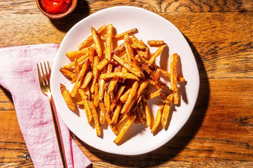 Start with cold oil for crisper, golden french fries you'll crave