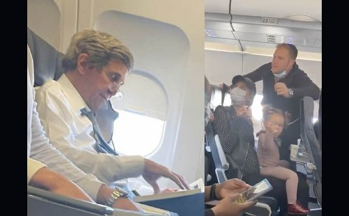 [VIDEO] If These Parents Had Maskless John Kerry On Their Lap They Could've Stayed On The Plane