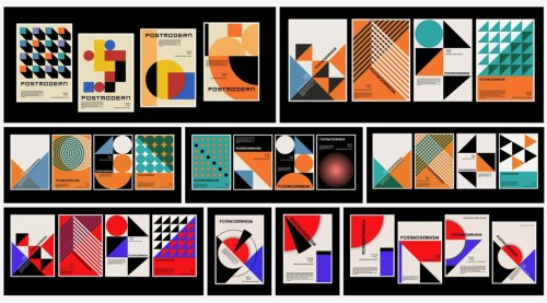 Vector Graphics Inspired by Postmodernism & Bauhaus