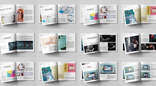 Square Graphic Design Portfolio InDesign Template