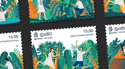 Celebrate Childhood with Nature: Stamp Series by Sathira Ravin