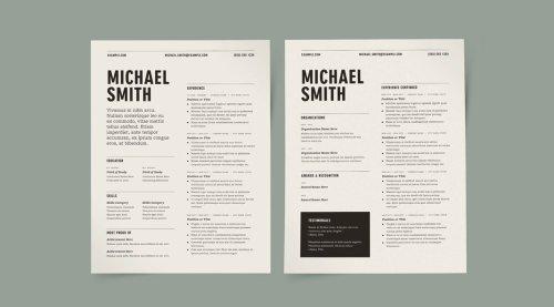 Two Column Resume Template Kit
