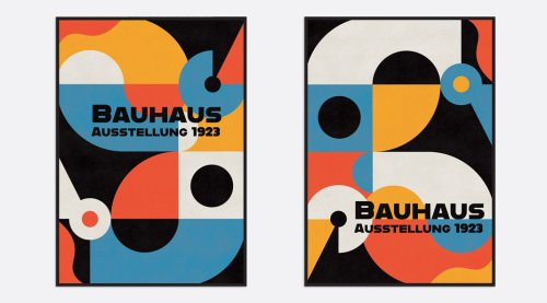 Retro Bauhaus Poster & Cover Templates with Abstract Geometric Elements