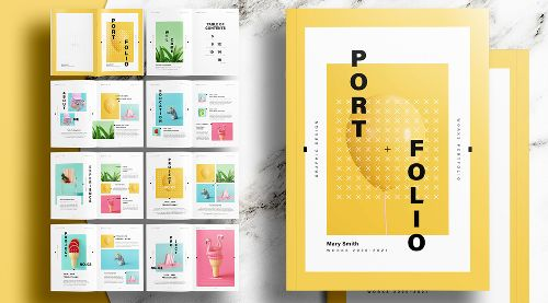 A Unique Portfolio InDesign Template with Yellow Accents