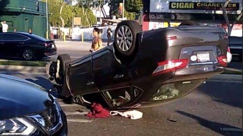 Car overturned on Robertson/Santa Monica Blvd.