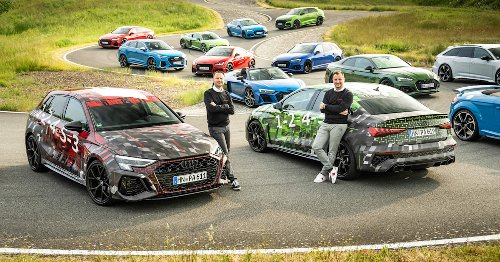 2022 Audi RS 3 appears in camo amongst RS family gathering