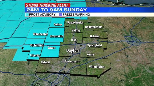 Frost Advisory issued for Western Miami Valley; Chance for passing showers today