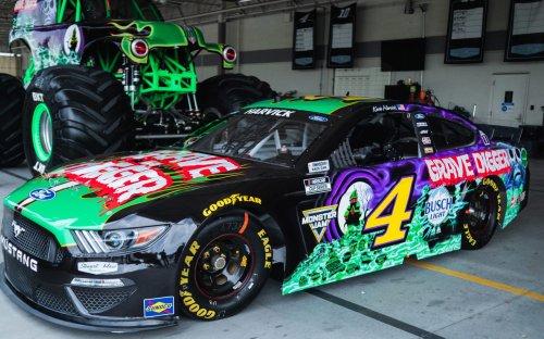 Kevin Harvick's Son Surprises Dad With Grave Digger Paint Scheme For Nashville NASCAR Race