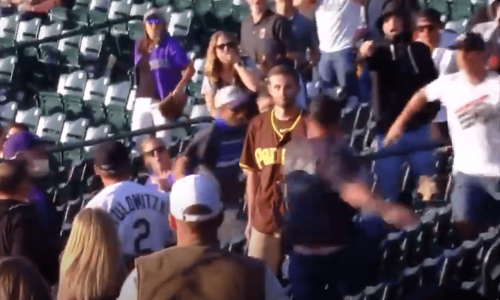 Padres Fan Knocks Rockies Fan Out Cold With One Punch, Promptly Gets Swarmed By Everybody Else In The Stands