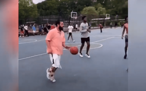 Adam Sandler And His Incredible Outfit Star In Long Island Pick Up Basketball Game
