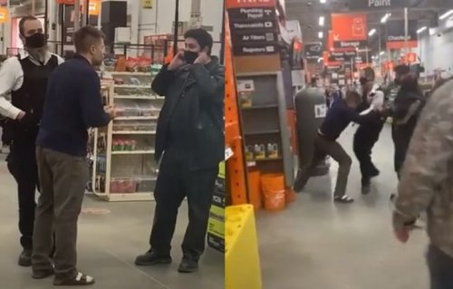 Guy Wearing Socks And Sandals Starts Fight With Home Depot Security, Other Customers Jump In And Take Him Down